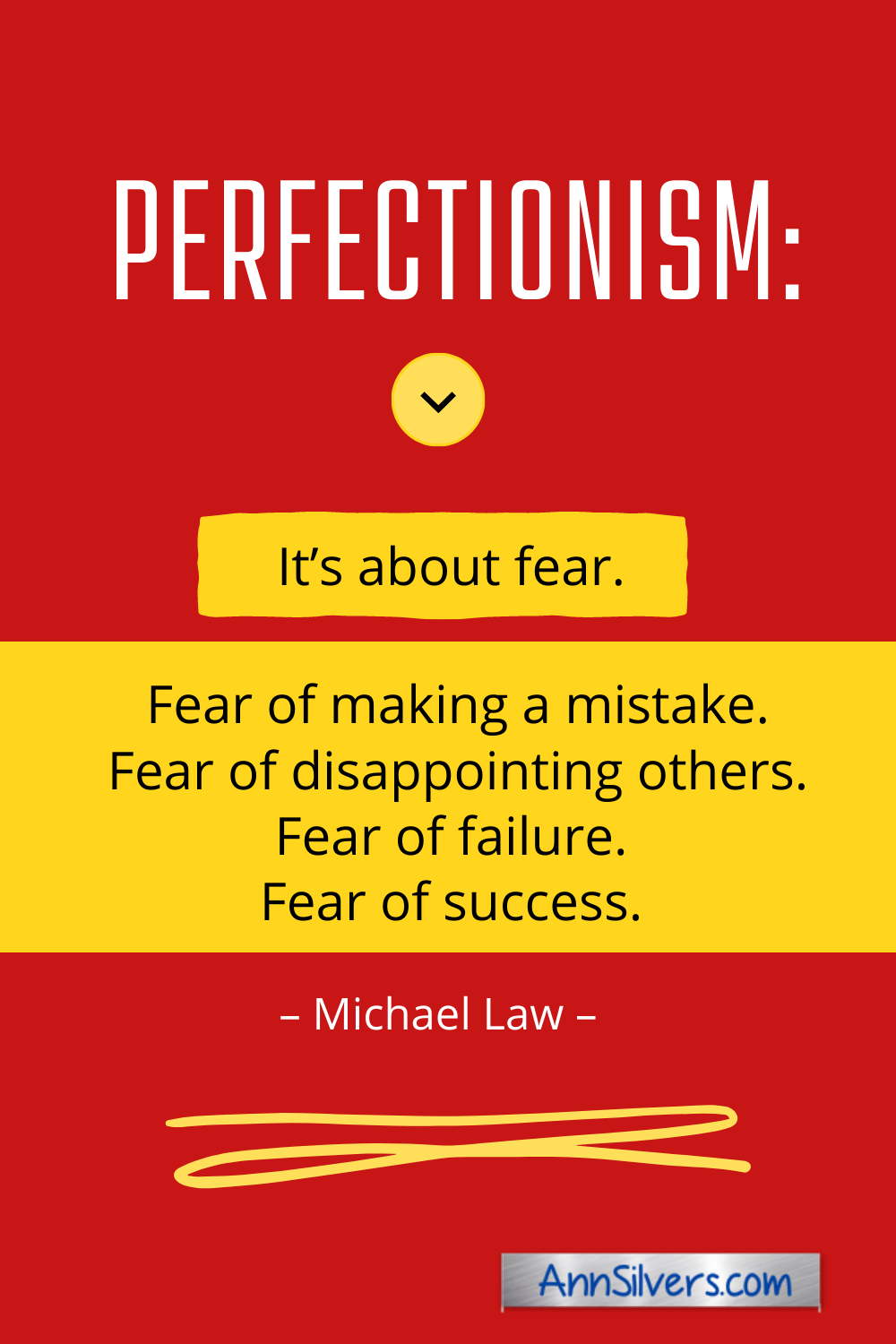 What is perfectionism? Perfectionism is about fear. Quote