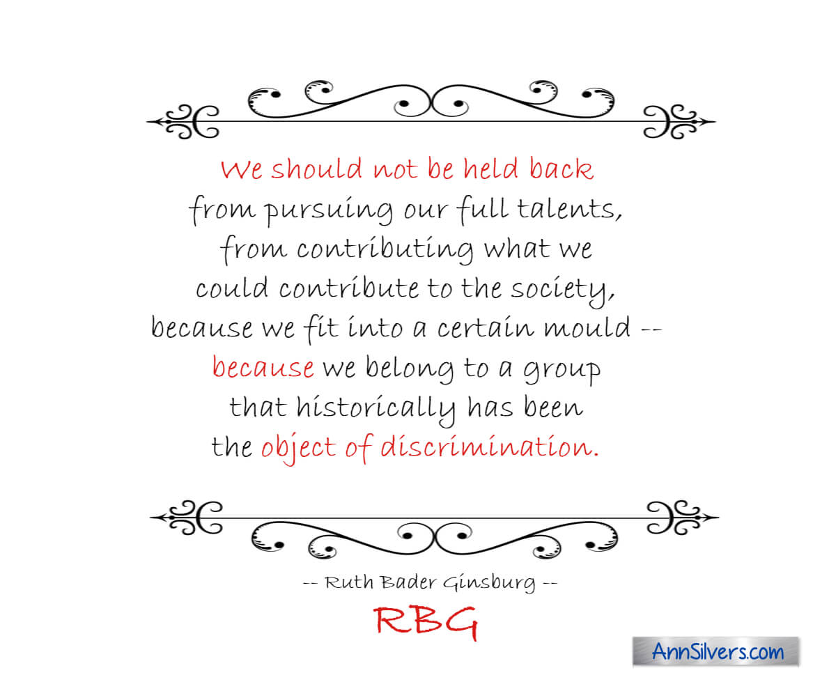 We should not be held back because discrimination. RBG Ruth Bader Ginsburg quote graphic