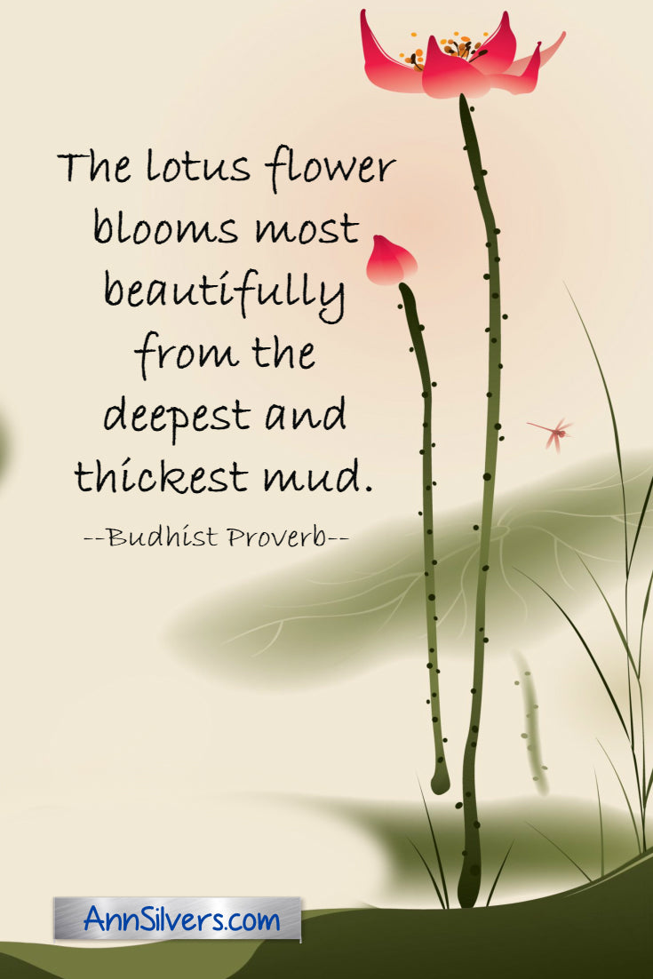 Lotus flower from the deepest darkest mud inspiring quote