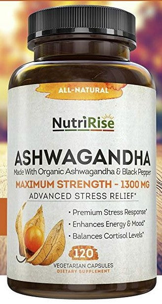 NutirRise Ashwagandha 1300mg Made with Organic Ashwagandha Root Powder & Black Pepper Extract - 120 Capsules.