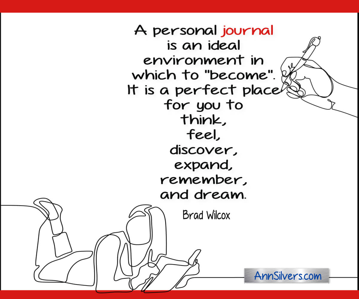 A personal journal is an ideal environment in which to 'become'.  It is a perfect place for you to  think, feel, discover, expand, remember, and dream. Brad Wilcox quote about the positive benefits of journaling for reflection and self-care