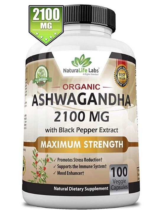 NaturaLife Labs Organic Ashwagandha 2,100 mg - 100 Vegan Capsules Pure Organic Ashwagandha Powder and Root Extract - Natural Anxiety Relief, Mood Enhancer, Immune & Thyroid Support, Anti Anxiety