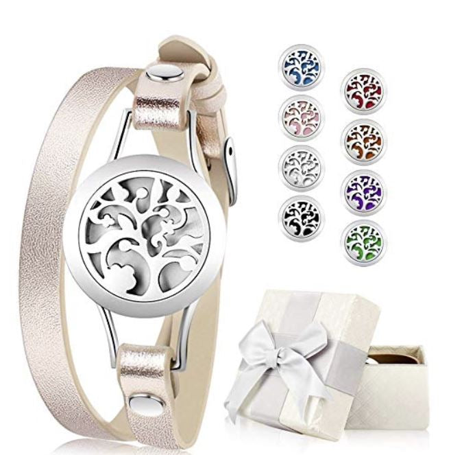 Romanda Essential Oil Diffuser Bracelet, Aromatherapy Bracelet Jewelry Stainless Steel Locket Leather Band with 8pcs Washable Refill Pads, Anti-Anxiety Gifts, Stress Relieving Gift for people with anxiety