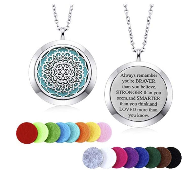 Mtlee Aromatherapy Essential Oil Diffuser Necklace Locket Pendant Stainless Steel Perfume Necklace with 16 Refill Pads and 24 Inch Adjustable Chain , Anti-Anxiety Gifts, Stress Relieving Gift for people with anxiety