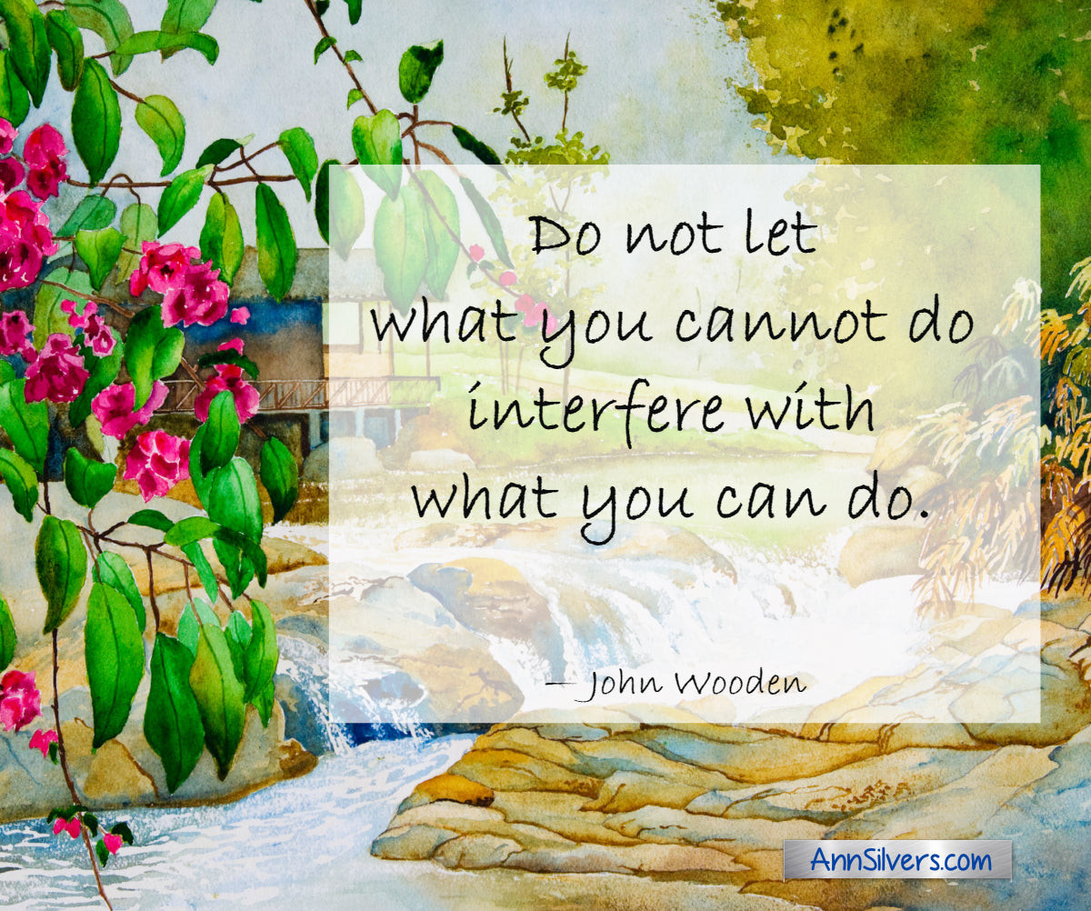 Do not let what you cannot do interfere with what you can do.  John Wooden quote for encouragement in difficult times