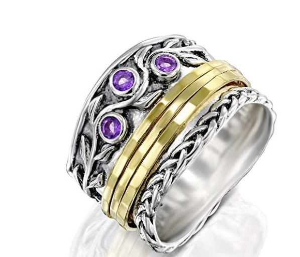 PZ Paz Creations 925 Sterling Silver Gemstone Spinner Ring  PZ Paz Creations 925 Sterling Silver Gemstone Spinner Ring, Anti-Anxiety Gifts, Stress Relieving Gift for people with anxiety