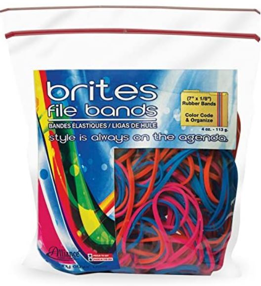 "Alliance Rubber 07800 Non-Latex Brites File Bands, Colored Elastic Bands, 50 Pack (7"" x 1/8"", Assorted Bright Colors in Resealable Bag)"