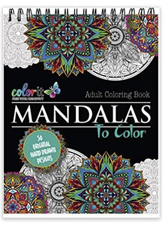 Mandala Coloring Book For Adults With Thick Artist Quality Paper, Hardback Covers, and Spiral Binding by ColorIt , Anti-Anxiety Stress Relieving Gift for people with anxiety