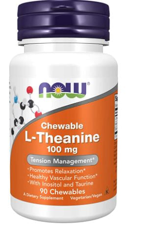 NOW Supplements, L-Theanine 100 mg with Inositol and Taurine, Tension Management