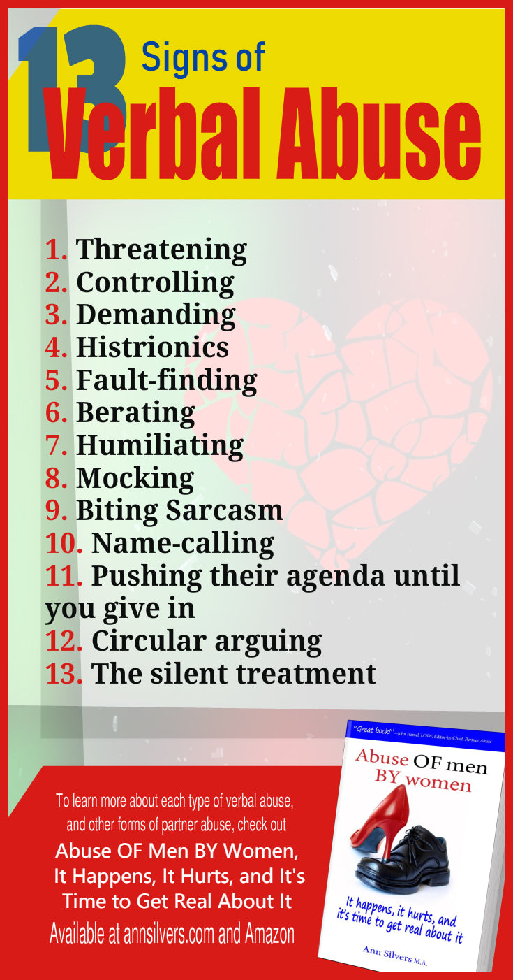 13 Signs of Verbal Abuse, verbally and emotionally abusive wife, girlfriend, husband, or boyfriend, women abusing men, women who abuse men, a controlling and abusive wife