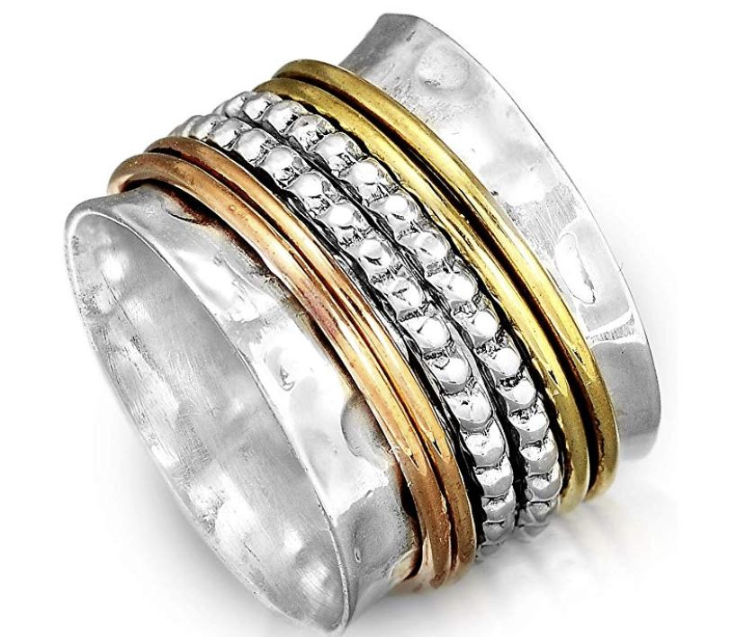 Boho-Magic 925 Sterling Silver Spinner Ring with Brass and Copper Fidget Rings for Women Wide Band,  Anti-Anxiety Gifts, Stress Relieving Gift for people with anxiety