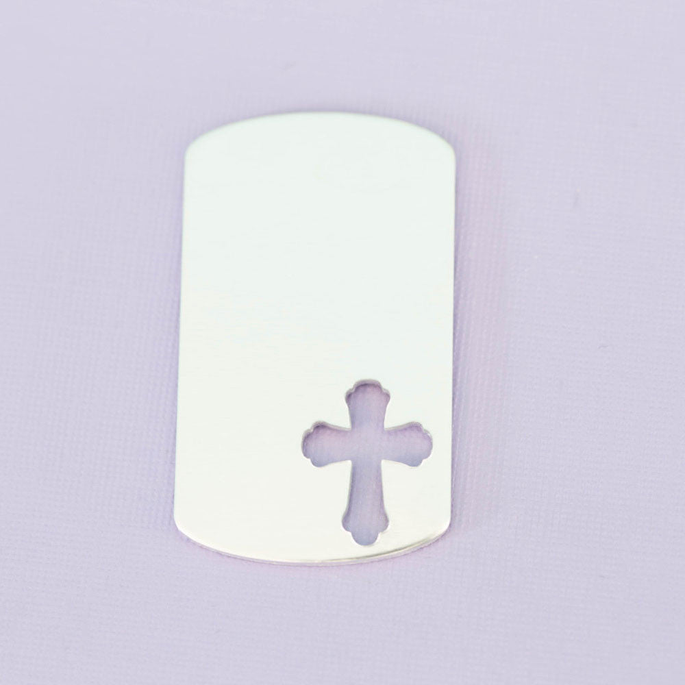 Large Dogtag with Small Cross Cutout .77""