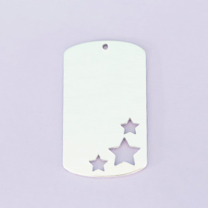Large Aluminum Triple Star Dog Tag