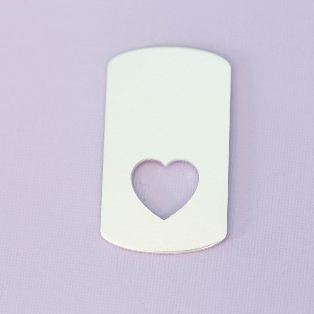 Large Aluminum Dogtag with Small Heart - Bottom