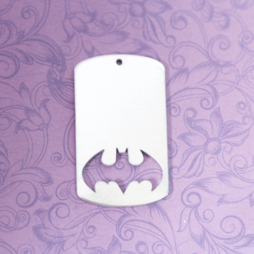 Aluminum Dogtag with Bat Cutout and Hole