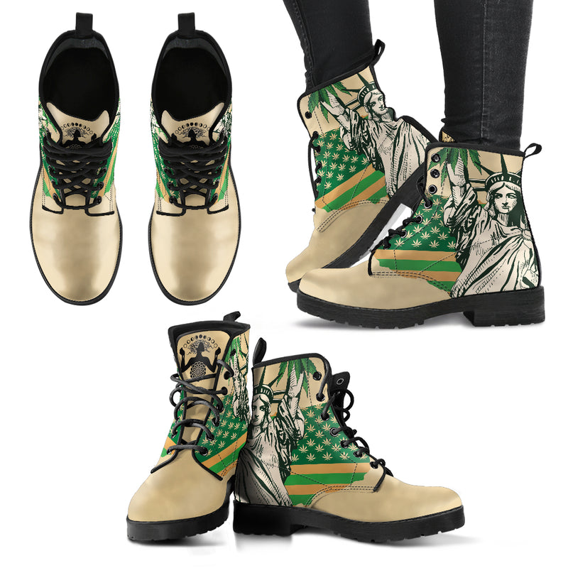 Cannabis Statue of Liberty - Vegan Women's Boots