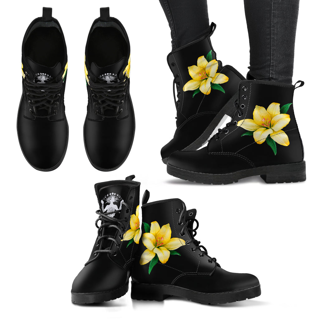 Yellow Flower I - Vegan Women's Boots