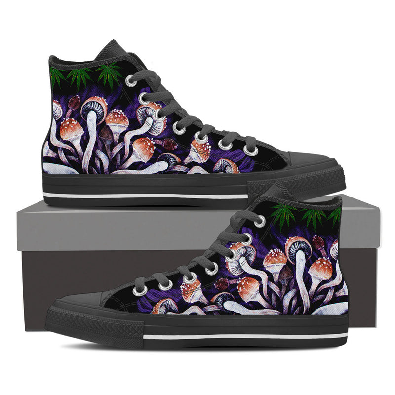 Purple Shrooms - Men's Vegan High Top Canvas Shoes