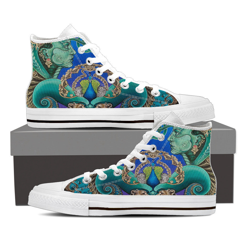 Reflection Reaction - Vegan Women's High Top Canvas Shoes