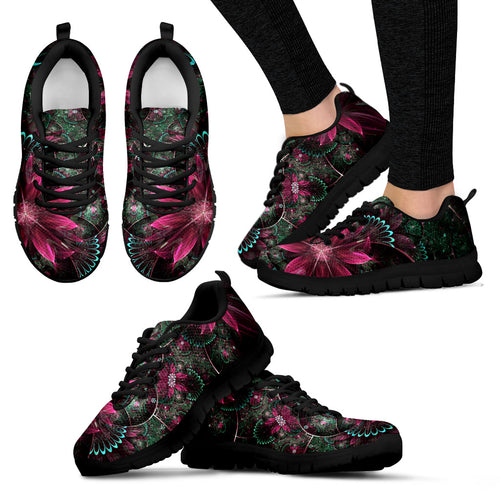 Pink Flower Women's Sneakers