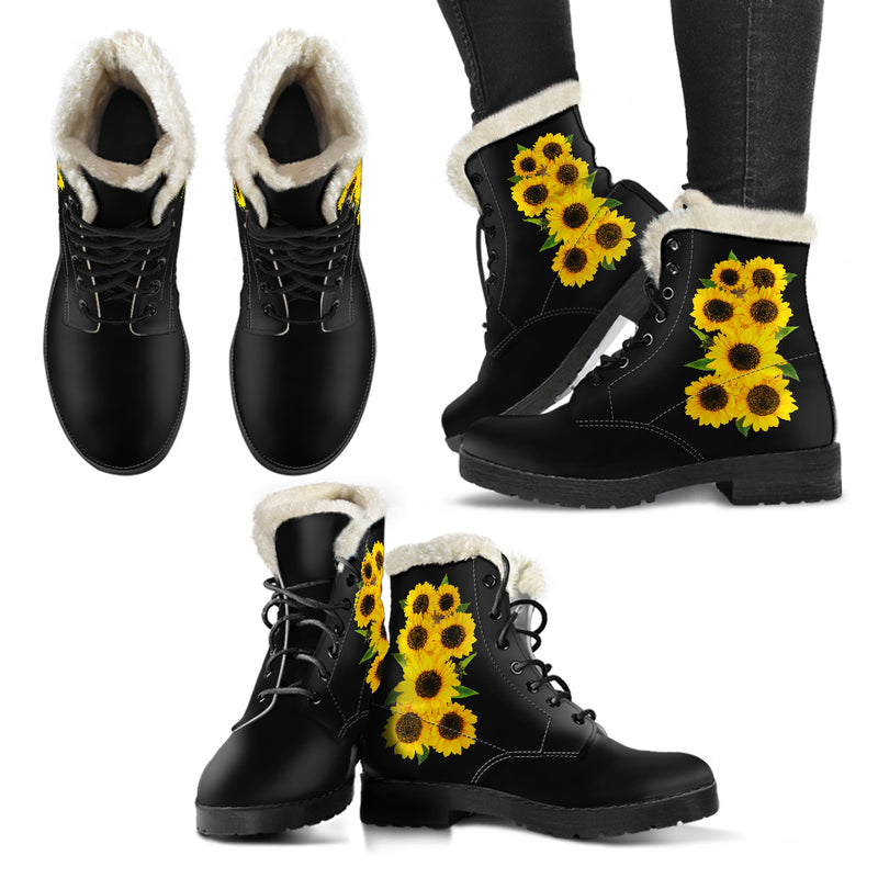 Sunflower Bouquet - Vegan Faux Fur Women's Boots
