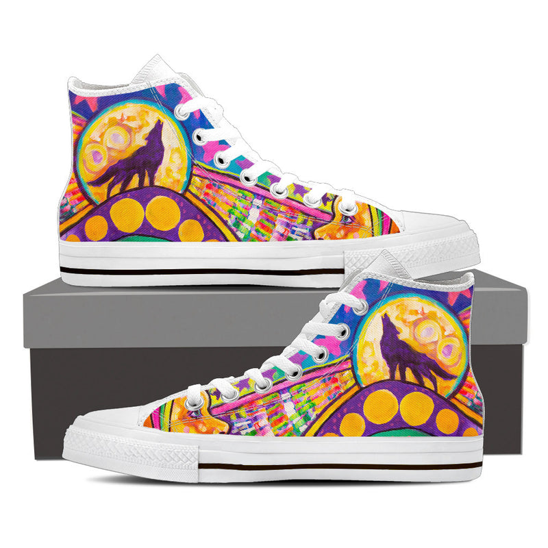 The Wolf -  Women's High Top Canvas Shoes