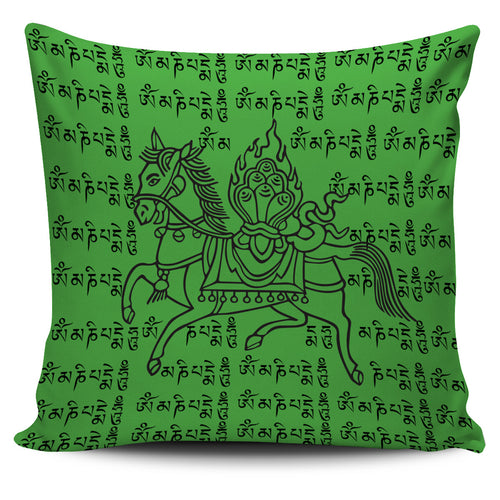 Green Tibetan Prayer - Pillow Cover