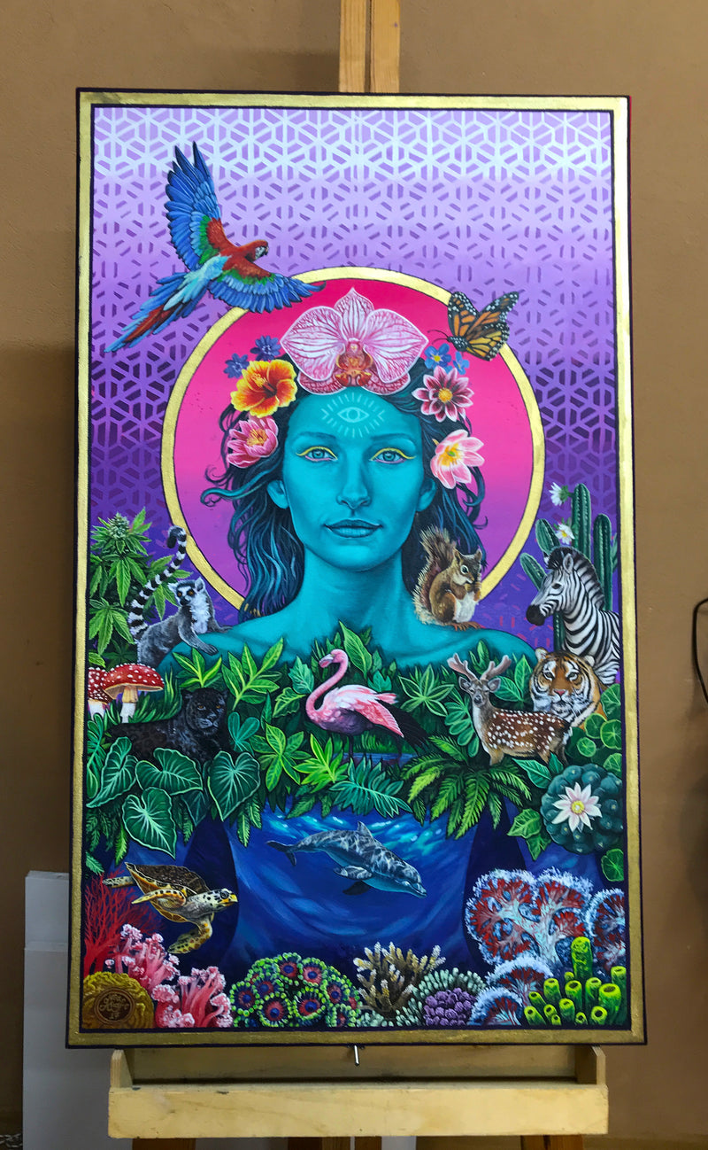 Mother Earth Vibration - Original Painting by Noa Knafo
