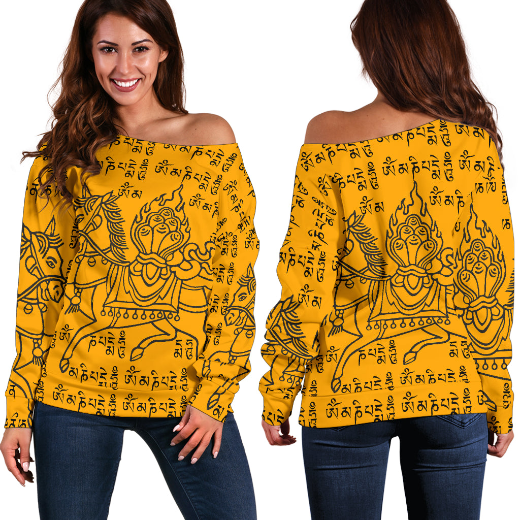 Yellow Tibetan Prayer -  Women's Off Shoulder Sweater