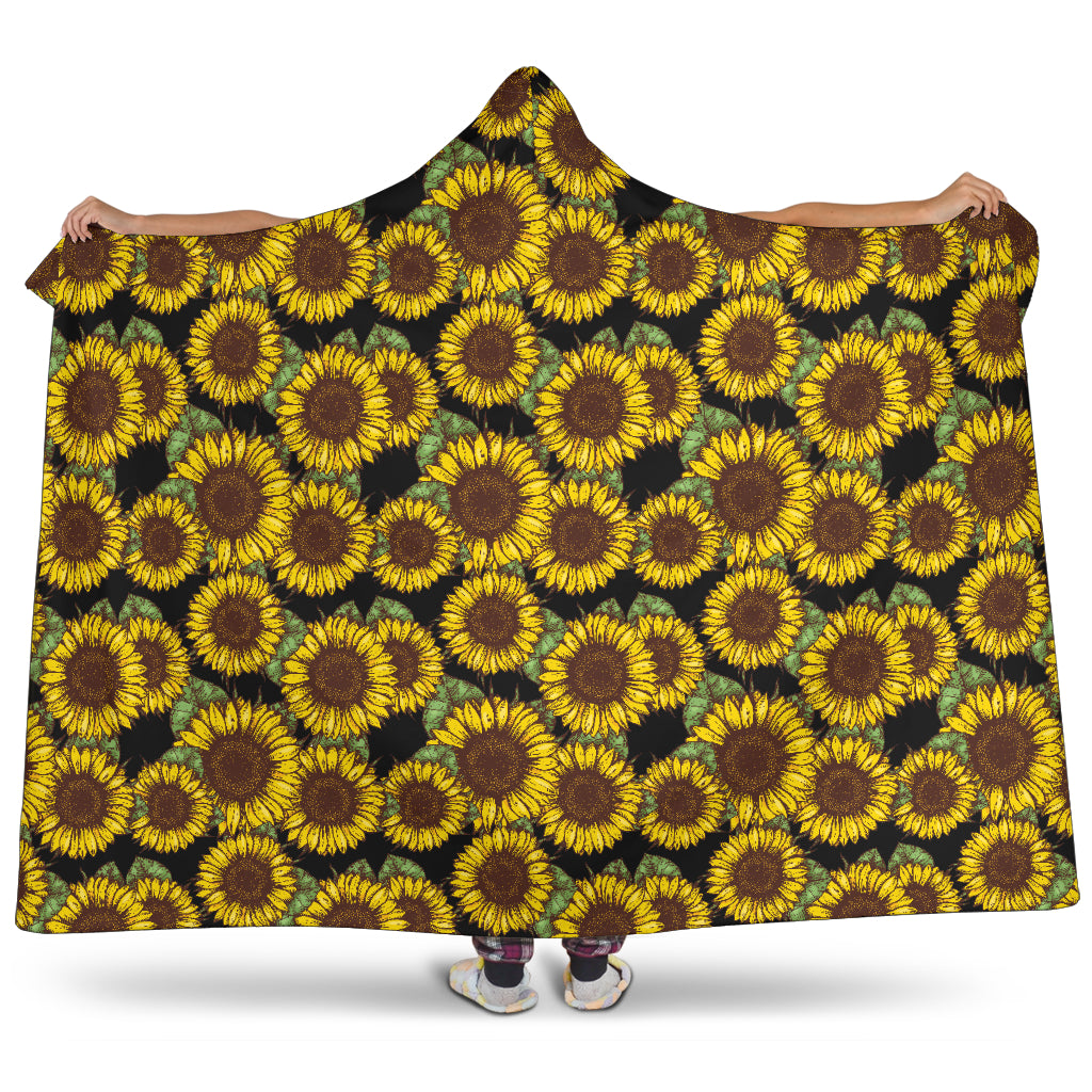 Sunflower Pattern - Hooded Blanket