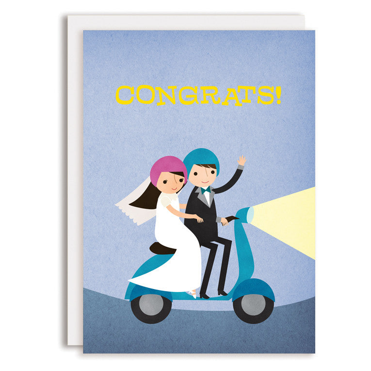 SAMPLE RD0200 - Moped Congrats - Bride & Groom