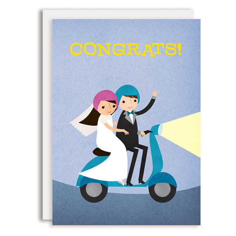 RD0200 - Moped Congrats - Bride & Groom