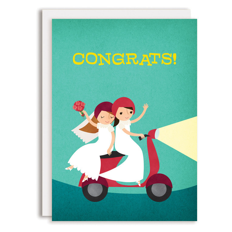 SAMPLE RD0201 - Moped Congrats - Two Brides
