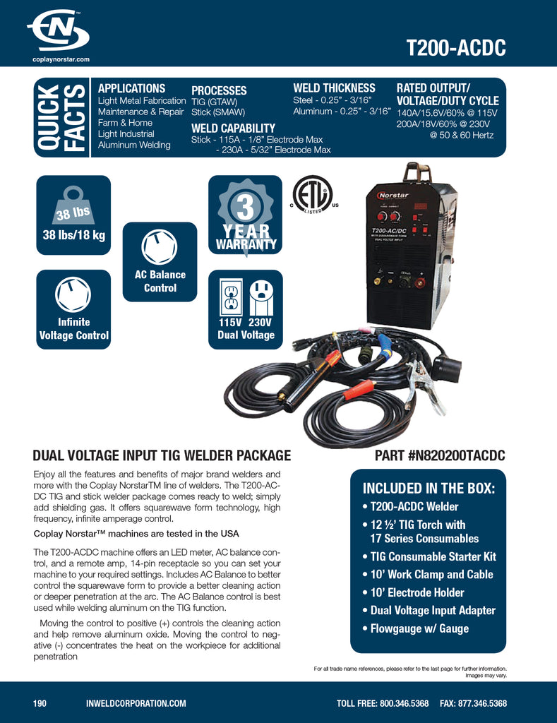 ULTIMATE TIG PACKAGE Coplay-Norstar ACDC Dual Voltage Input TIG ...