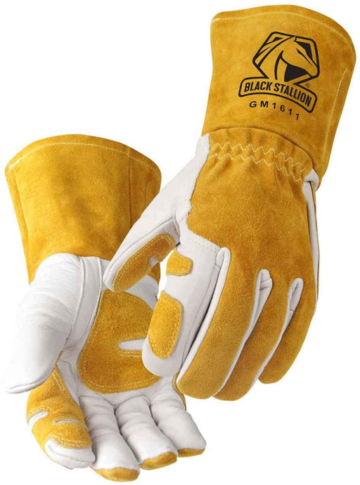 "Revco GM1611 Top Grain Leather Cowhide MIG Welding Gloves with Reinforced Palm & Thumb & Index Finger, Seamless Forefinger, 5"" Cuff for Extra Protection (Large)"