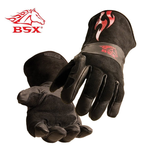 BSX Stick/MIG Welding Gloves - Black with Red Flames