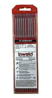 "Inweld 10 2% Thoriated TIG Welding Tungsten Electrode WT20 3/32""x 7"" Red"