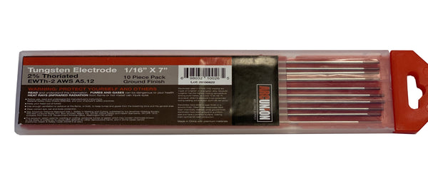 "2% Thoriated TIG Welding Tungsten Electrodes 1/8"" (Red,WT20)"
