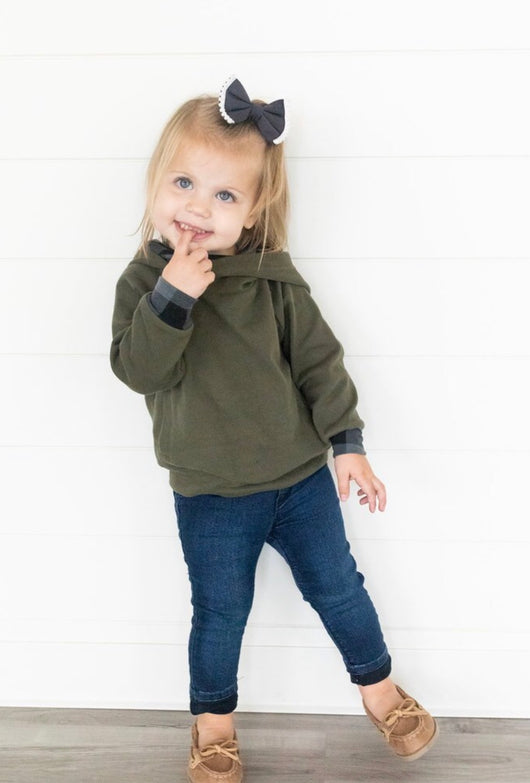 Kids DoubleHood™ Sweatshirt- Evergreen Plaid
