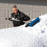 Snow Joe SJBLZD 2-In-1 Telescoping Snow Broom + Ice Scraper | 18-Inch Foam Head (Blue)
