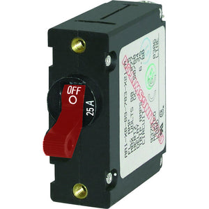Blue Sea 7217 AC / DC Single Pole Magnetic World Circuit Breaker  -  25 Amp Red