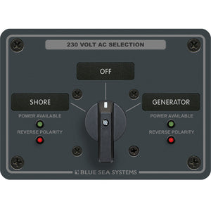 Blue Sea 8359 AC Rotary Switch Panel 30 Ampere 2 Positions + OFF, 2 Pole