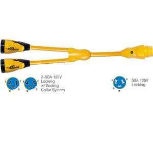 "Marinco Y504-2-504 EEL (2)50A-125/250V Female to (1)50A-125/250V Male ""Y"" Adapter - Yellow"