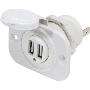Blue Sea 12V DC Dual USB Charger Socket - White