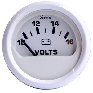 "Faria Dress White 2"" Voltmeter (10-16 VDC)"