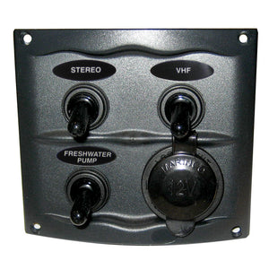 Marinco Waterproof Panel w/3 Switches - 12V - Grey