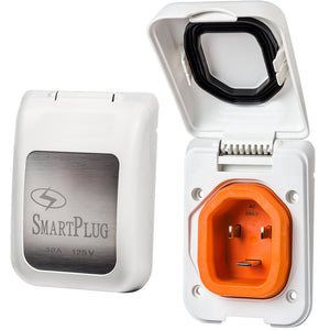 SmartPlug 30 Amp Non Metallic White Inlet - Boat  RV Side