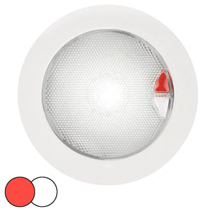 Hella Marine EuroLED 150 Recessed Surface Mount Touch Lamp - Red-White LED - White Plastic Rim