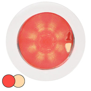 Hella Marine EuroLED 150 Recessed Surface Mount Touch Lamp - Red-Warm White LED - White Plastic Rim