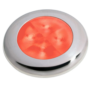 Hella Marine Slim Line LED 'Enhanced Brightness' Round Courtesy Lamp - Red LED - Stainless Steel Bezel - 12V